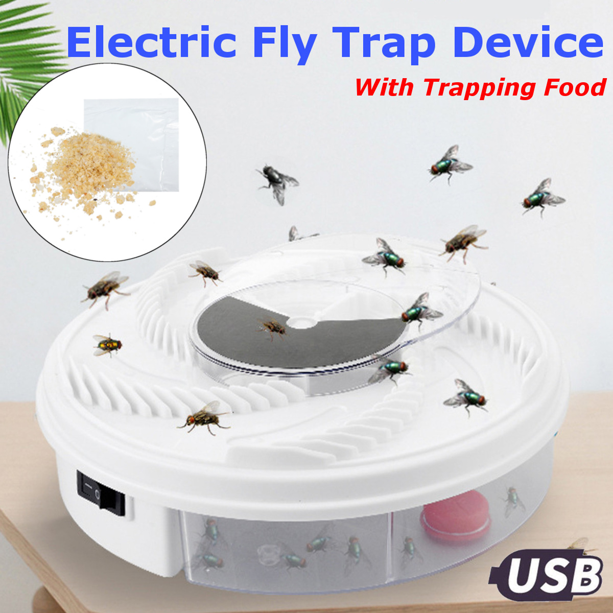 Electric Fly Trap Device Fly Catcher Trap Insect Killer Pests Control Propeller With USB Cable