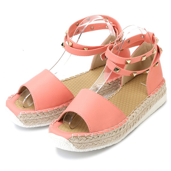 US Size 5-12 Women Summer Rivet Strappy Buckle Sweet Flat Peep Toe Roman Sandals Shoes