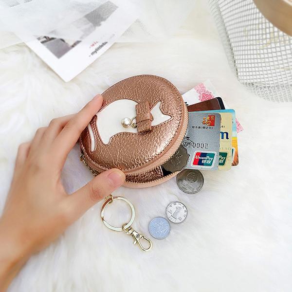 Cat Lovely Pattern Round Coin Bag Key Bag Tassel Purse