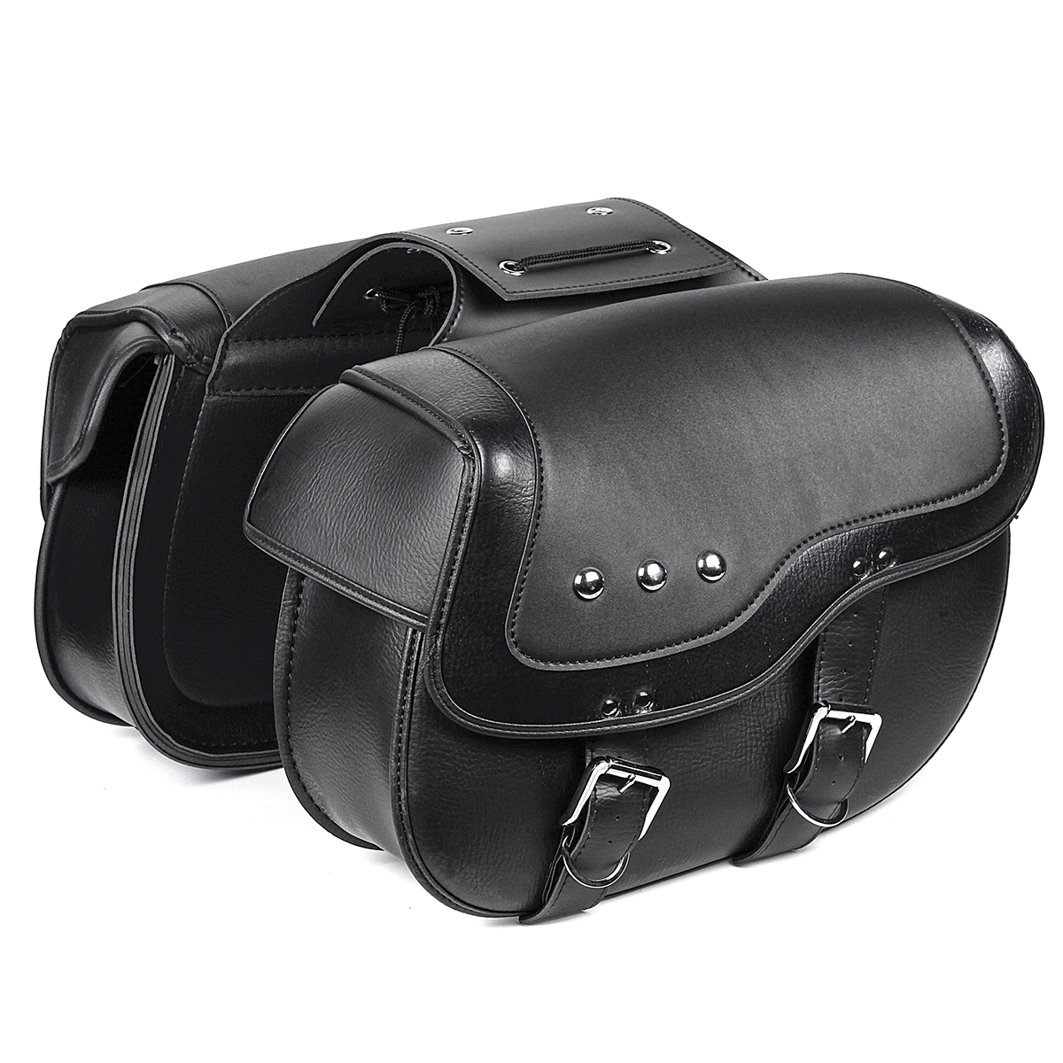 Motorcycle PU Leather Luggage Saddlebags Black For Harley Sportster XL883 1200