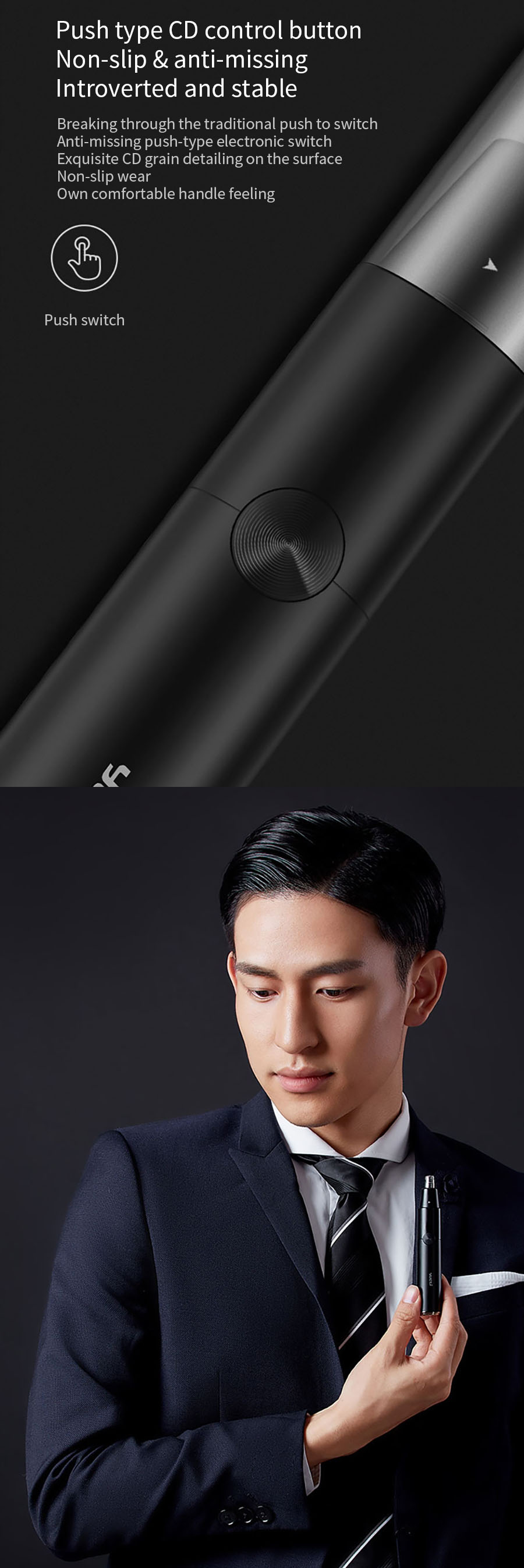 YUELI HR-310BK H31 Electric Nose Hair Trimmer 360 Degree Rotate Ear Nose Hair Razor Clipper Safe Cleaner Tool for Men and Women from Xiaomi Youpin