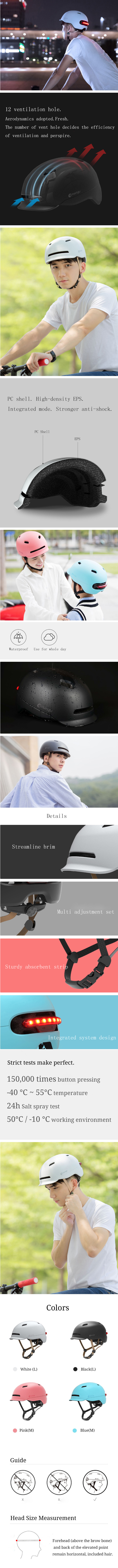 XIAOMI Smart4u SH50 Cycling Helmet Intelligent Back LED Light EPS Adjustable Breathable Ventilation IPX4 Motorcycle Mountain Road Scooter For Men Women