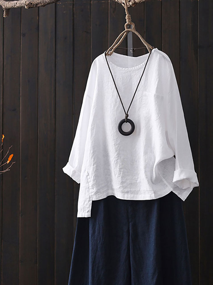 Women Cotton Crew Neck Split Asymmetric Shirts