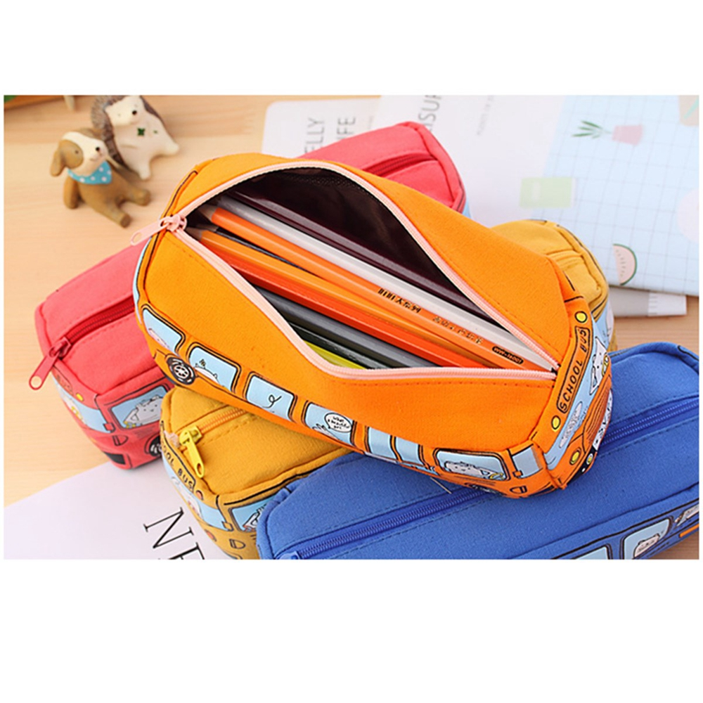 Kids Cartoon Canvas Pen Pencil Case Bag Box Bus Storage Large Zipper School Pen Bag