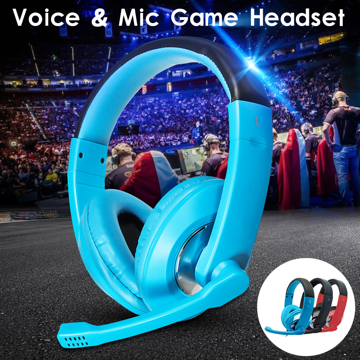 3.5mm Wired Gaming Headset Stereo Surround Headphone with Mic for PC Laptop