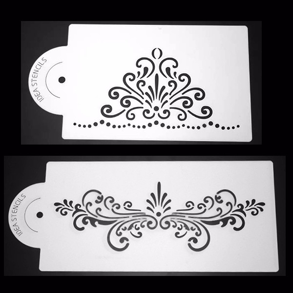 2Pcs Elegant Lace Plastic Cake Stencil Cookie Biscuit Fondant Stencil Wedding Cake Decorating Tool