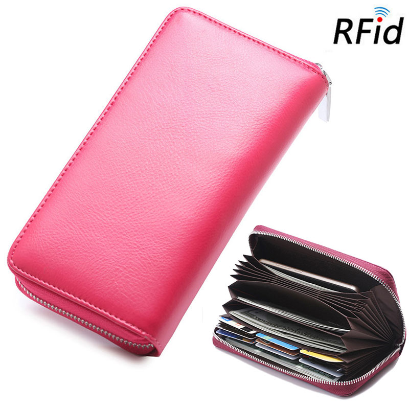 Details: Material Genuine Leather Color Rose Red, Blue, Black, Pink, Wine Red, Coffee Weight 220g Length 19cm(7.48'') Height 10cm(3.94'') Width 2.5cm(0.98'') Pattern Pure Color Inner Pocket 3Main Pocket, 30Card Slots, 2Inner Pocket Closure Zipper Package #purse