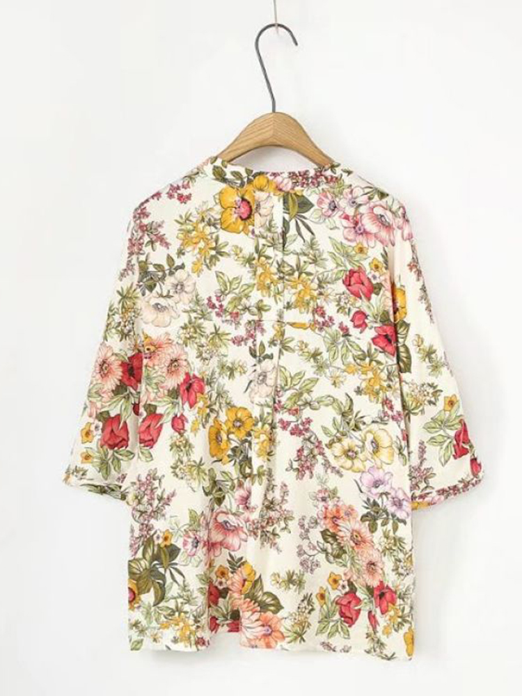 Casual Women Floral Print V-neck 3/4 Sleeve Asymmetric Blouse