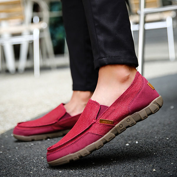 Big Size Men Canvas Elastic Comfortable Slip On Casual Sneakers