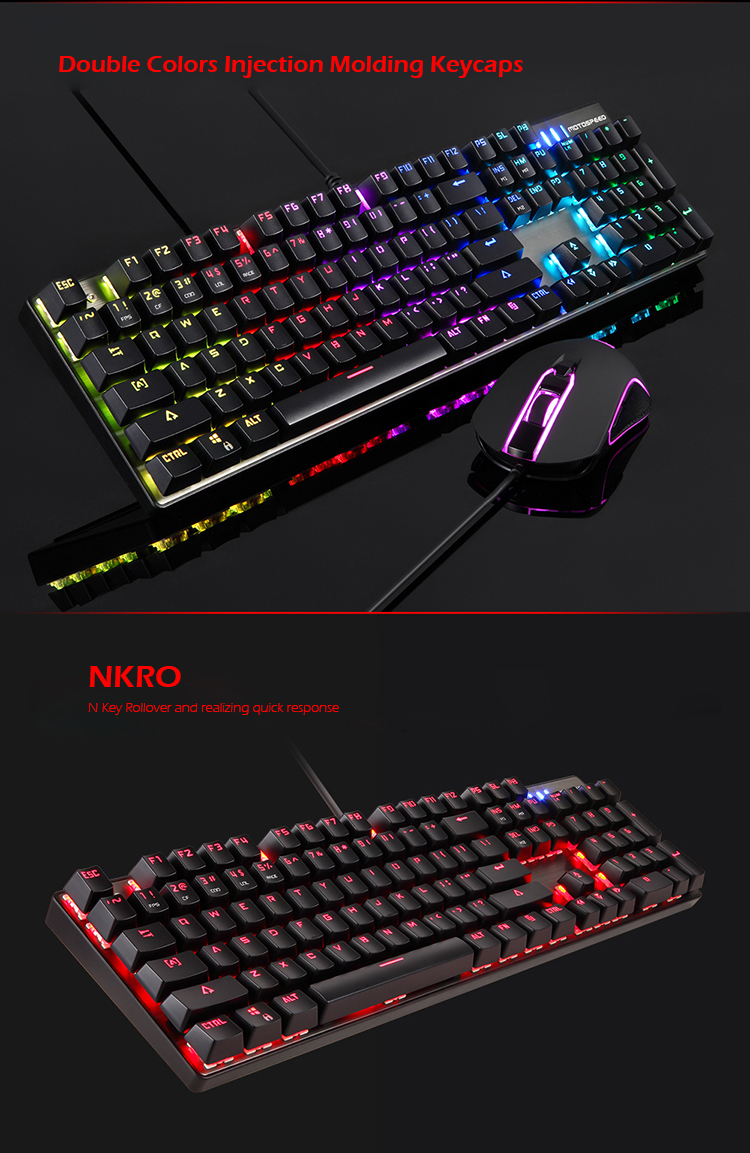 Original Motospeed CK888 NKRO Blue Switch 104Key Mechanical Gaming Keyboard and Mouse Combo