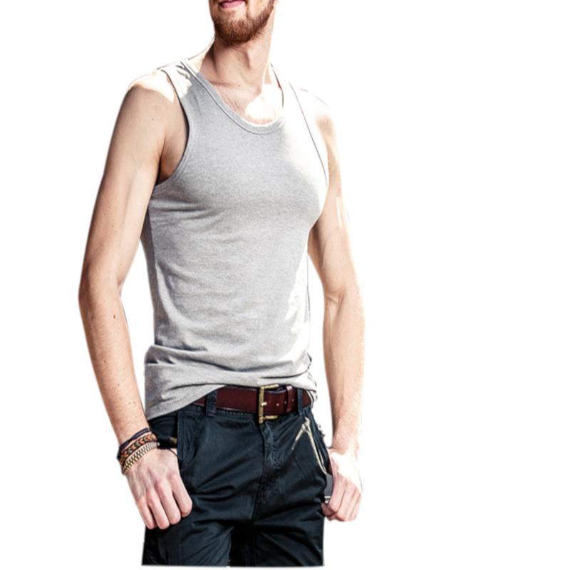 Men Summer Sleeveless Solid Color O-neck Cotton Slim Vest