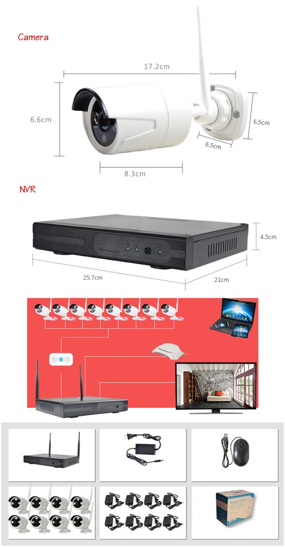 Hiseeu 960P Wireless CCTV 8CH NVR Kit Outdoor IR Night Vision IP WiFi Camera Security Surveillance EU Plug