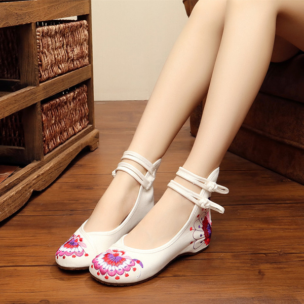 US Size 5-10 Embroidery Floral National Wind Chinese Knot Buckle Vintage Flat Loafers Shoes