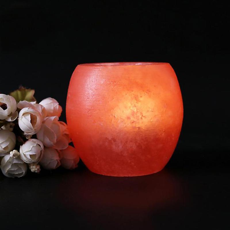 Crystal Himalayan Night Light Candle Holder Natural Salt Rock Tea Light Air Purifying Table Lamp