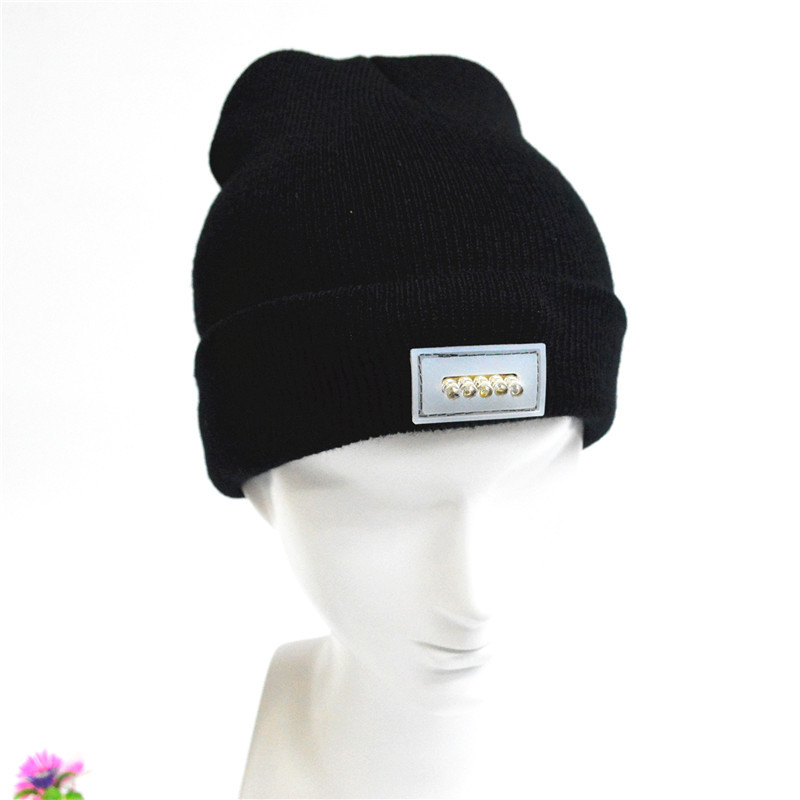 Ultra Bright 5 LED Winter Warm Beanie Cap Hat Unisex Lighted Flashlight For Camping Hiking Hunting