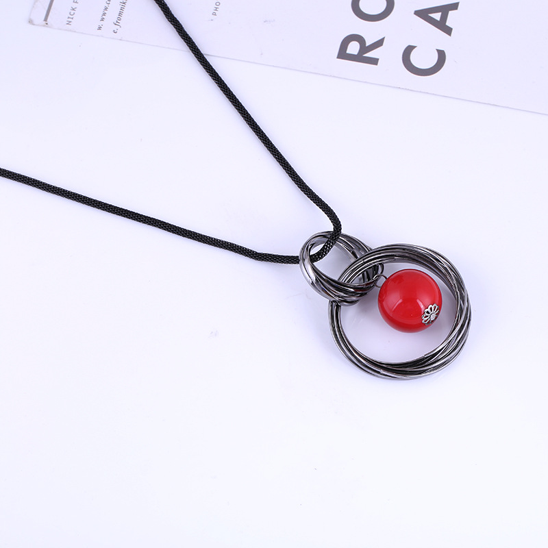 Vintage Pendant Necklace Red Bead Hollow Round Pendant