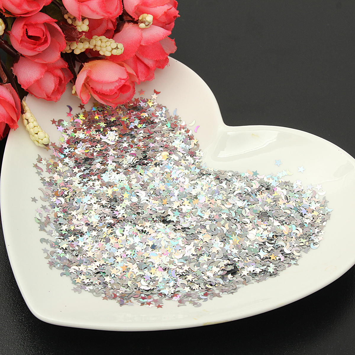 100g Silver Glitter for Emulsion Paint Shiny Stars Moons Rainbow Decorations