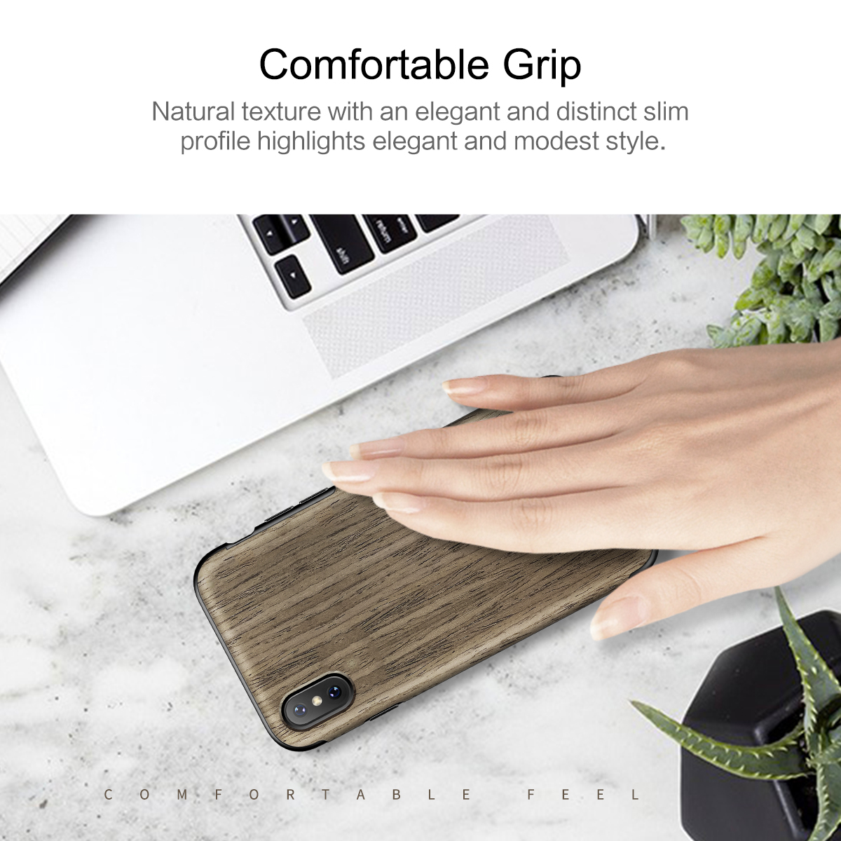 Rock Natural Wood Grain/Marble Texture Back Cover Case For iPhone X