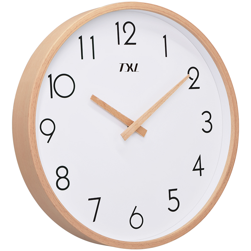 TXL 12 Inch Glass Wooden Wall Clocks Silent Quartz Non Ticking Wall Clocks Living Room Office Wooden Hand Simple Concise Clock Decor