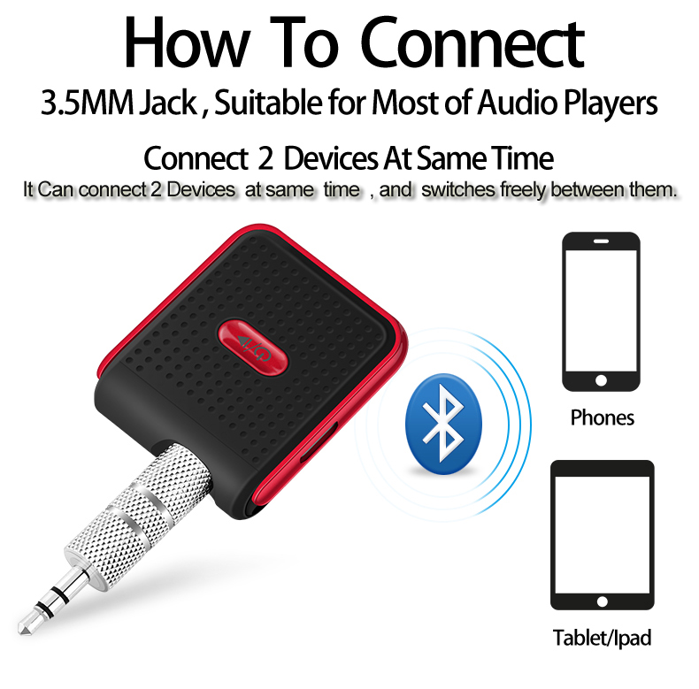 Bakkey bluetooth V4.1 Car Hands Free Music Receiver 3.5mm AUX Audio Adapter For Car Audio Speakers