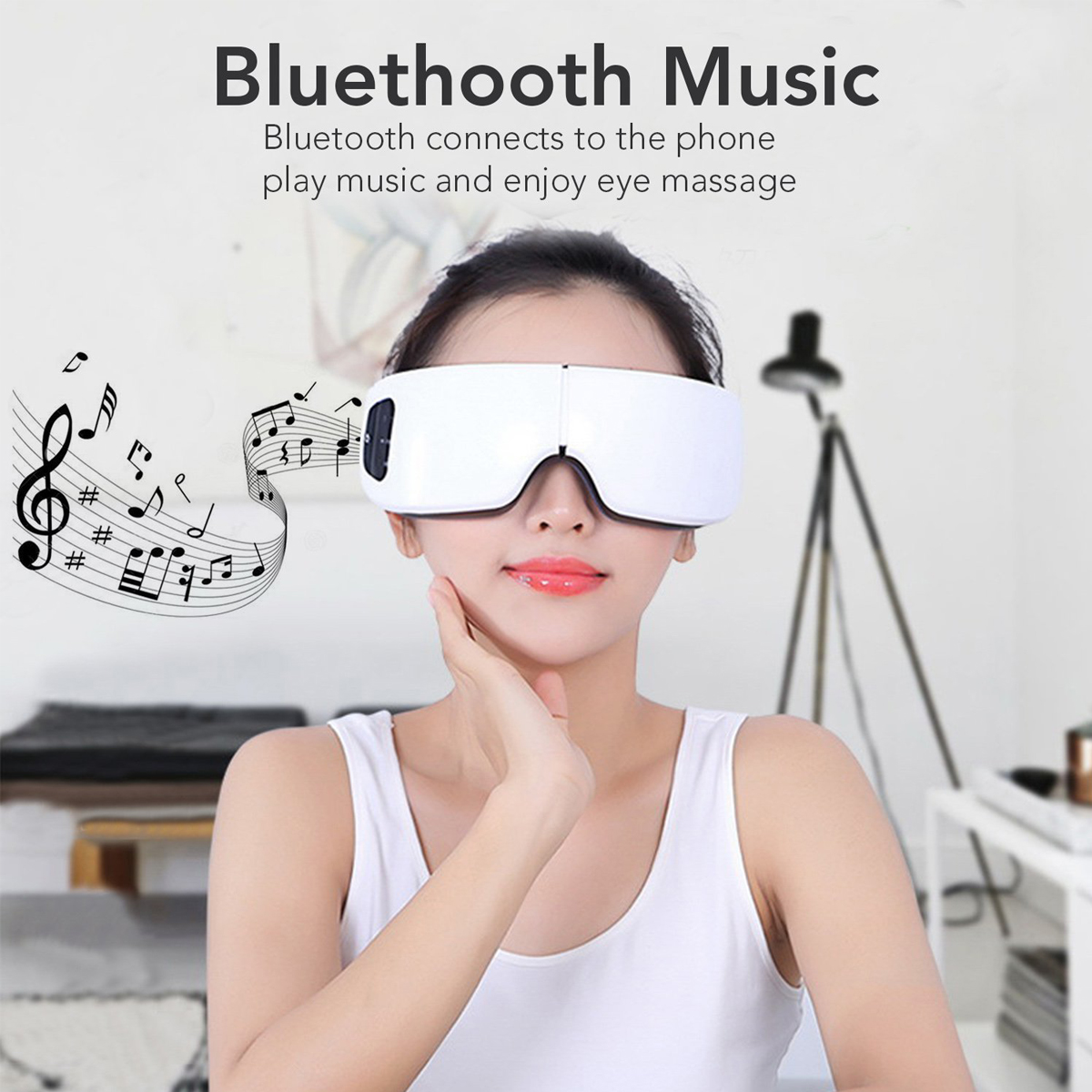 Electric bluetooth Transmitter Wireless Air Pressure Eyes Massager Heating Music Function