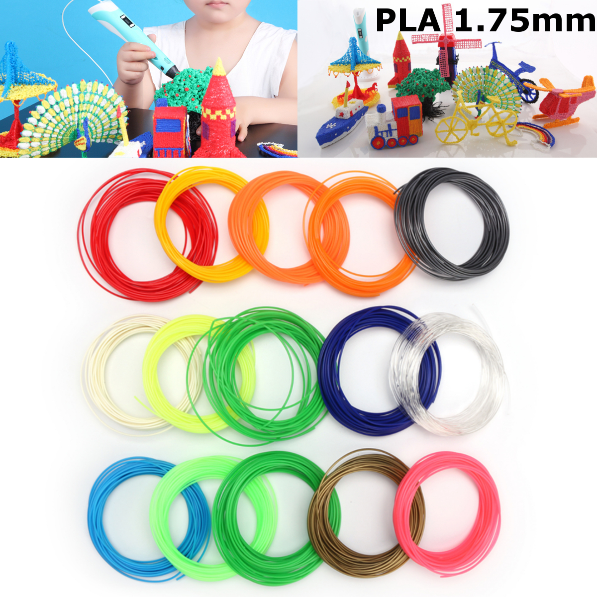 15 Colors x 10M/Roll 1.75mm PLA Filament For 3D Printer Printing Pen RepRap Marker