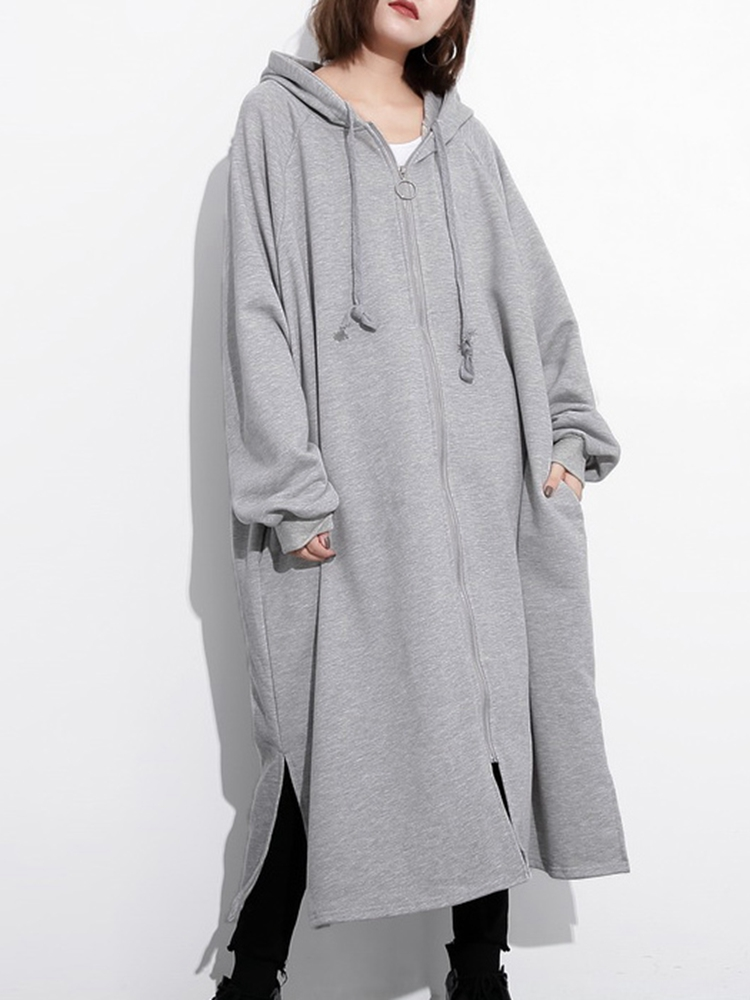 M-5XL Solid Color Hooded Coat