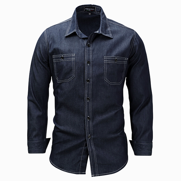 Mens Chest Pockets Long Sleeve Plus Size M-3XL Lapel Denim S