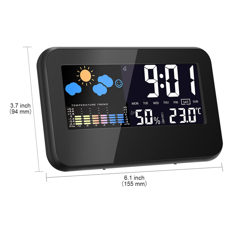 Loskii DC-002 Digital Weather Station Thermometer Hygrometer Alarm Clock with Colorful LED Display Smart Sound Control Calendar Backlight Function