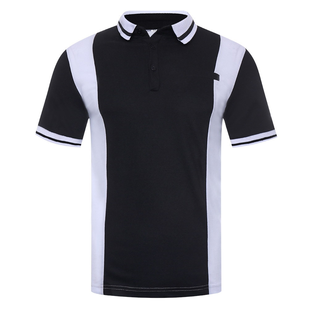 Men's Black White Hit Color Design Golf Shirt
