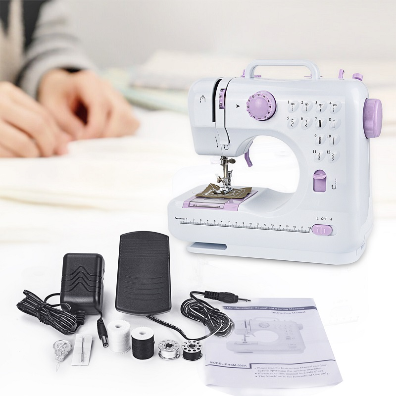 Fanghua 12 Stitches Mini Household Sewing Machine 505A Portable Knitting Machine Multifunction Electric Replaceable Presser Foot