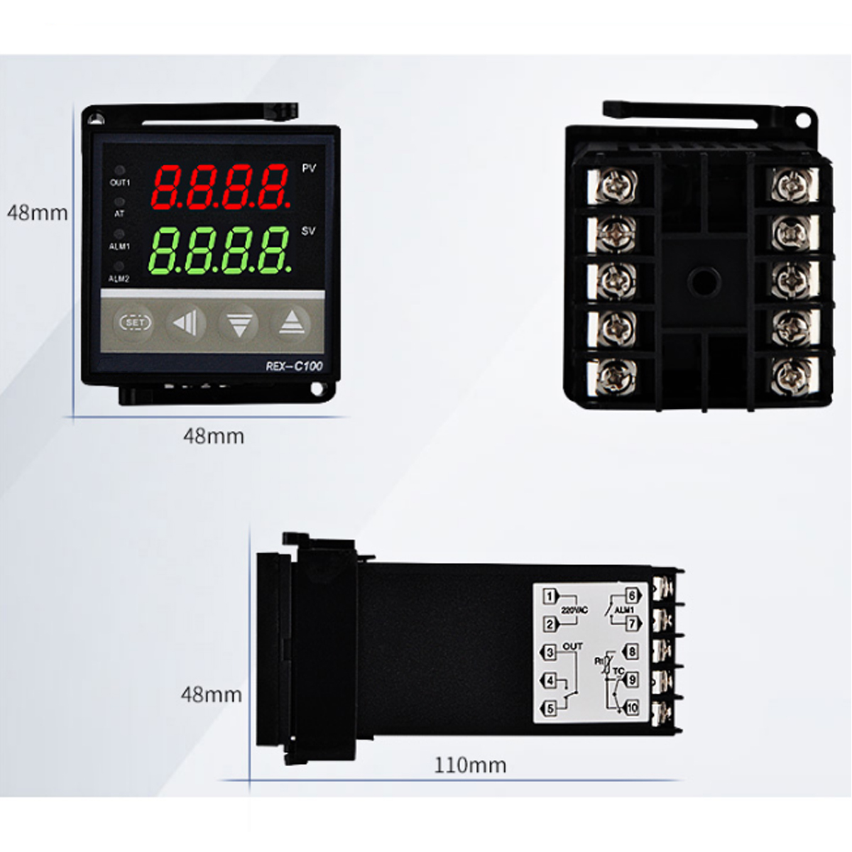 Digital REX-C100 Temperature Controller with K Type Thermocouple