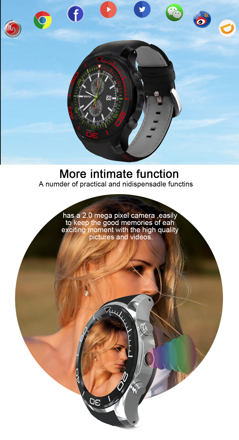 KALOAD MF2 Android 5.1 8GB ROM 512MB RAM GPS 3G Heart Rate Monitor Smart Watch Phone