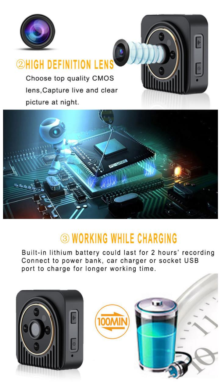 H5 Wifi IP Mini Camera Wireless 720P HD Infrared Micro Camera IR Night Vision Magnetic DV