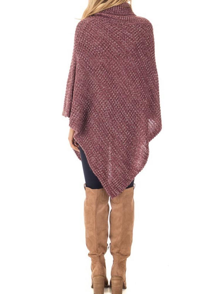Women High Collar Turtleneck Button Irregular Knit Sweaters