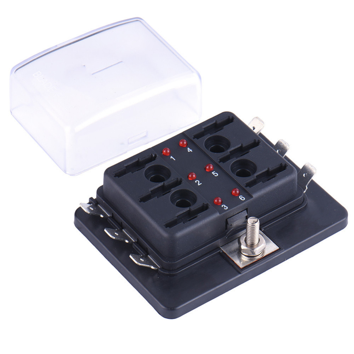 DC12V/24V/32V 6Way Car Boat Automotive Blade Fuse Box Block Holder LED Warning