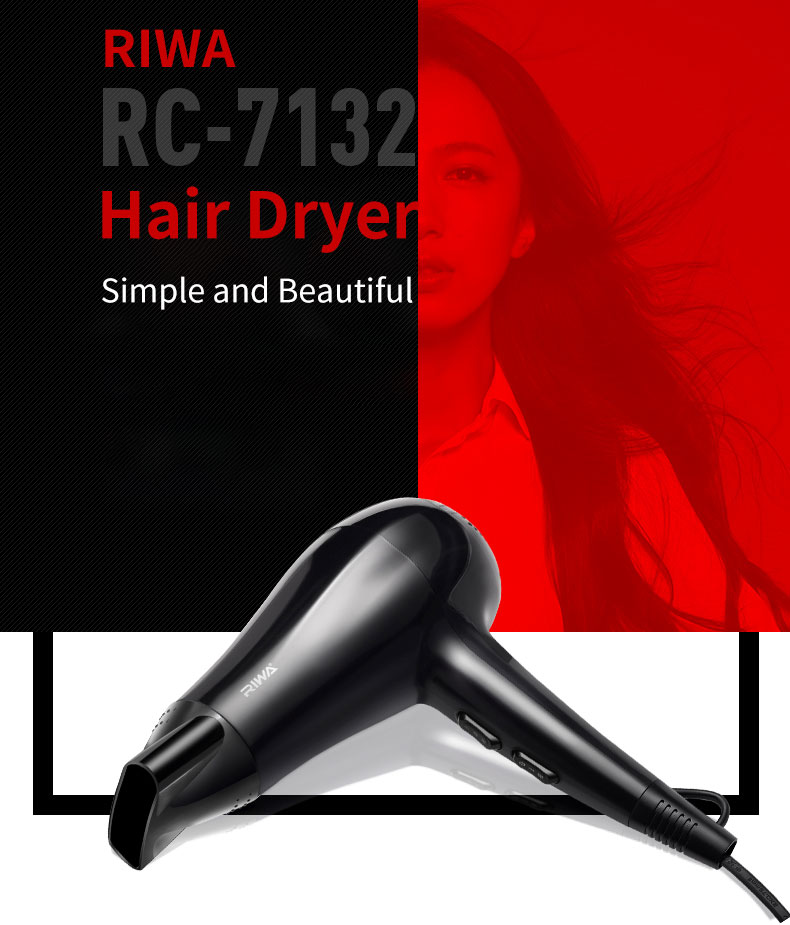 RIWA RC-7132 and RC-7136 Household Electric Hair Dryer Air Temperature Adjustment