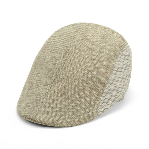 Men Women Mesh Linen Beret Cap Outdoor Sports Golf Cabbie Peaked Hats