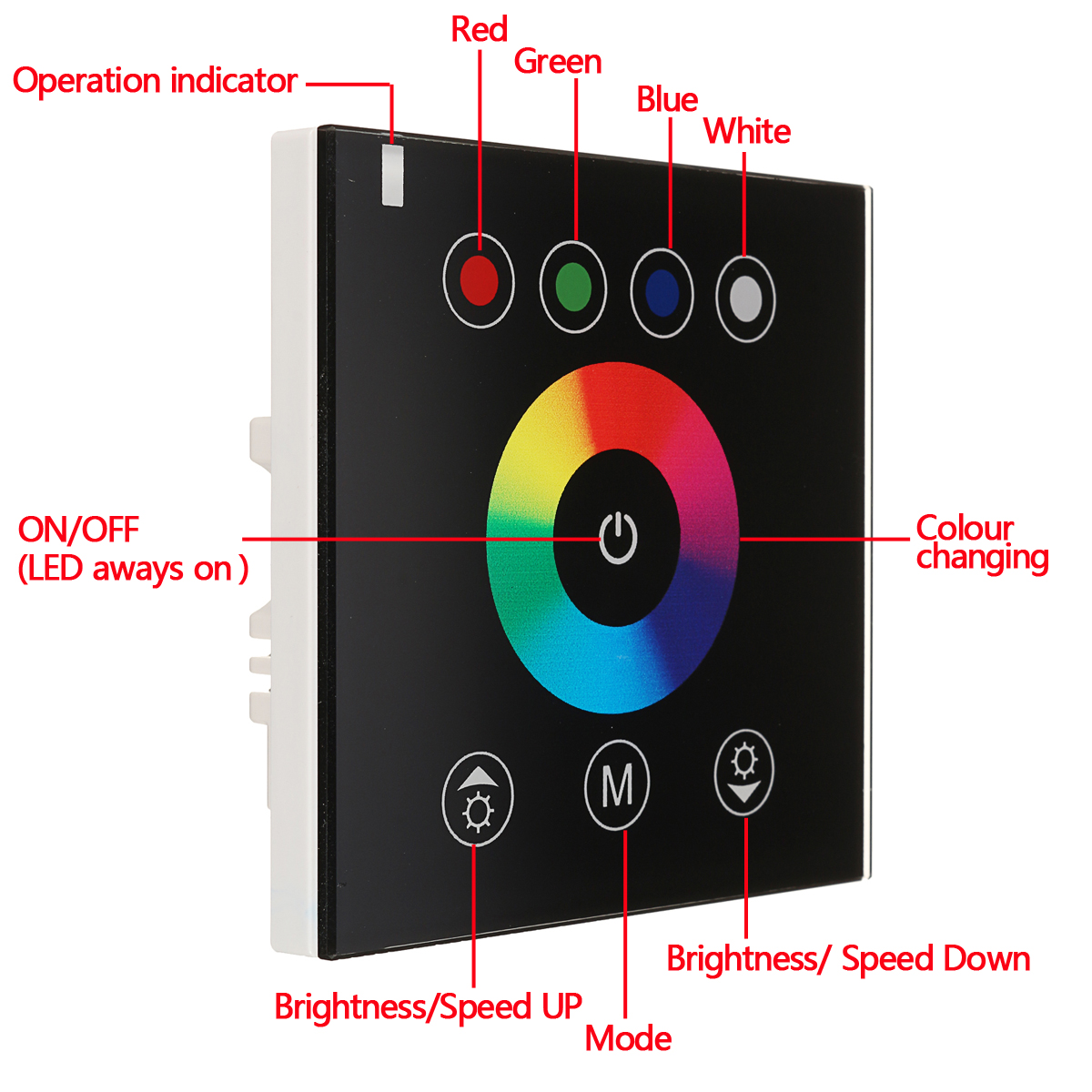 2.4G RGB Wireless Wall Switch Touch Panel Controller Dimmer for DC12V/24V LED Strip
