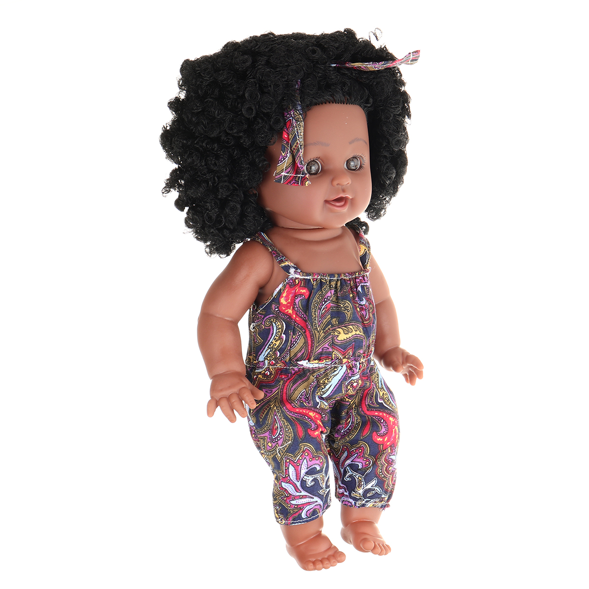 12Inch Soft Silicone Vinyl PVC Black Baby Fashion Play Doll Rotate 360° African Girl Perfect Reborn Doll Toy for Birthday Gift - Photo: 4