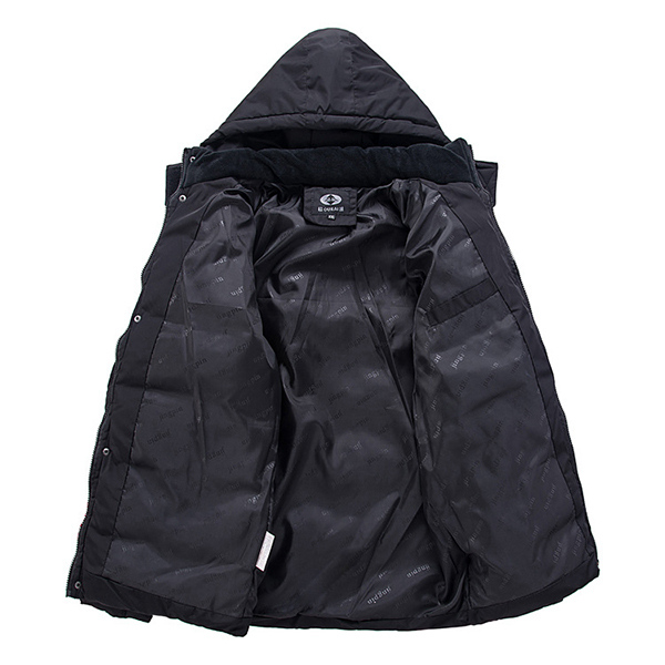 Winter Thick Warm Removable Hood Cotton Padded Jackets Zipper Button Men Parka Coat