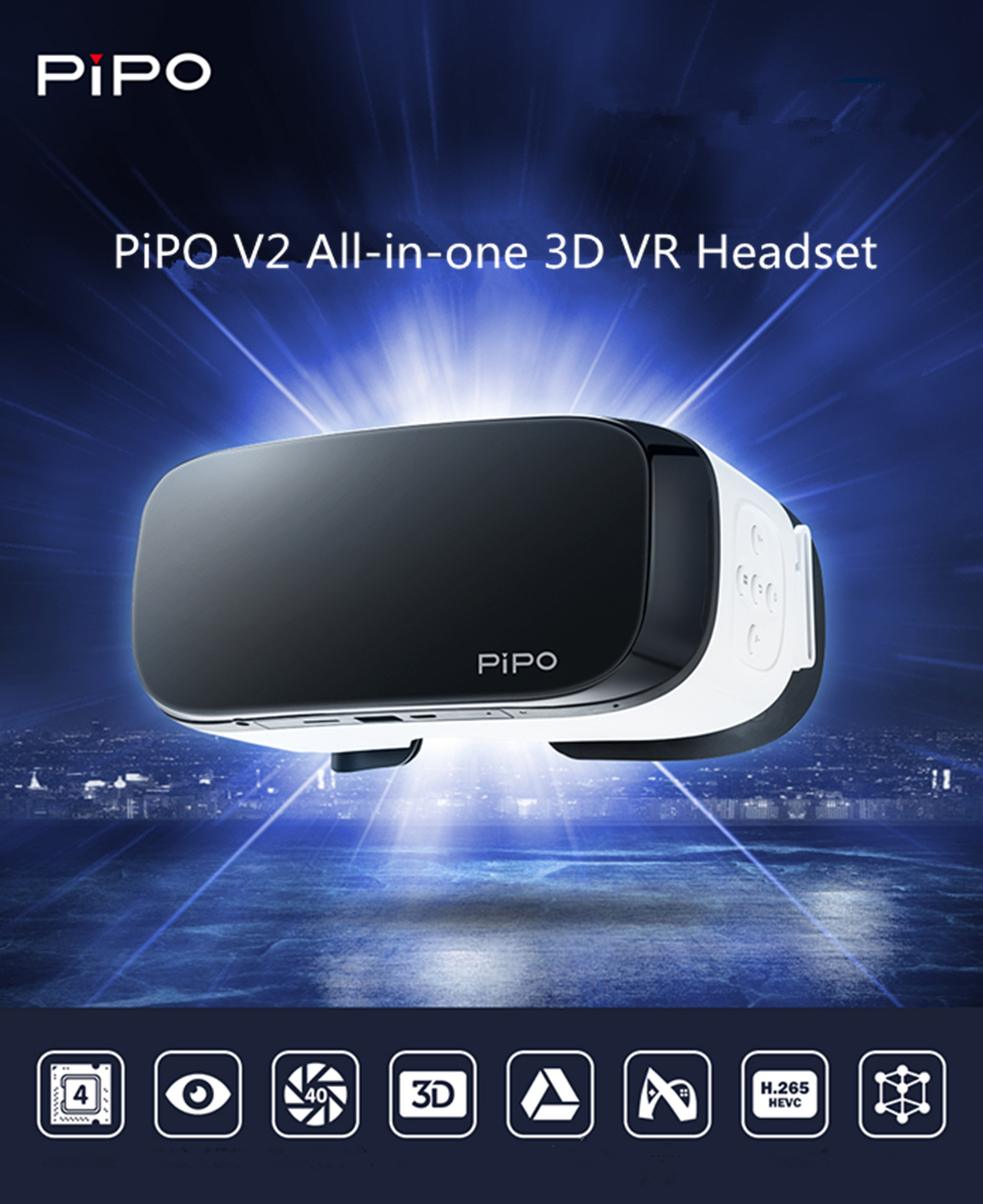 PiPO V2 All-in-one 3D VR Glasses WiFi 1080P FHD RK3288 Quad Core Virtual Reality Headset