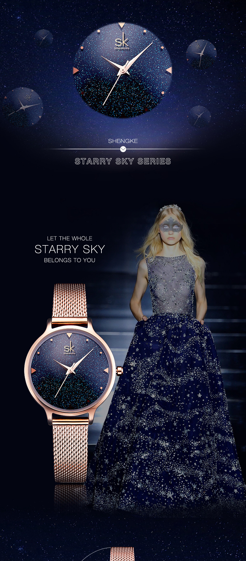 SK K0063 Elegant Design Women Sky Dial Creative Watches