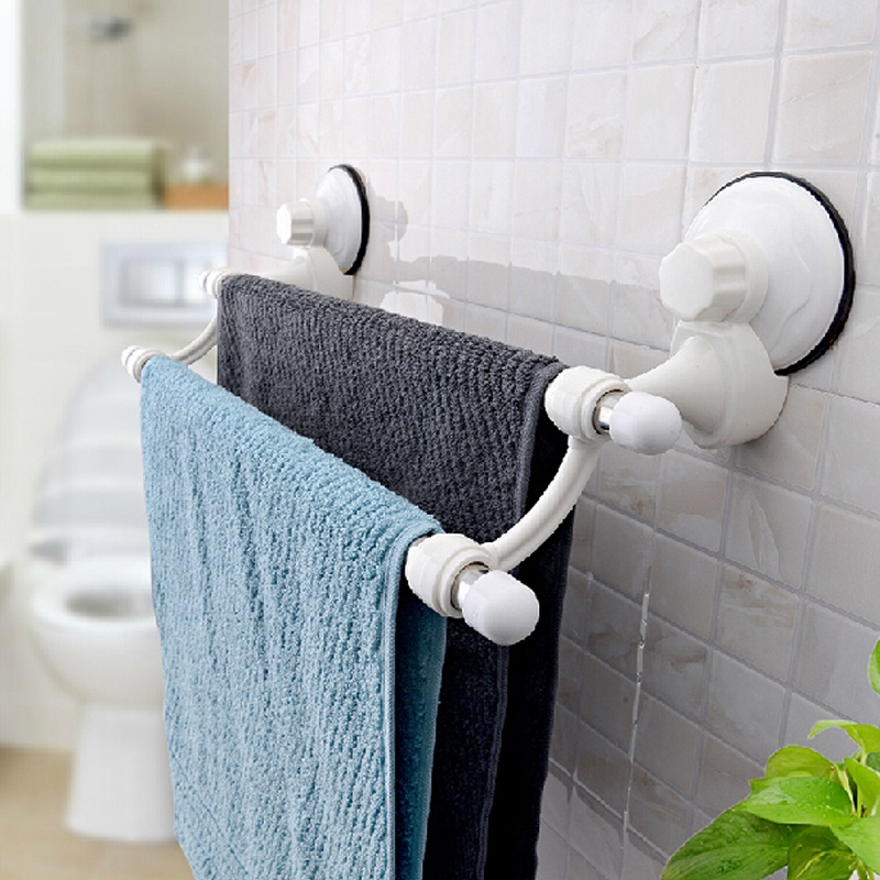 Bathroom Double Deck Towel Rack Clothes Storage Holder With Suction Cup