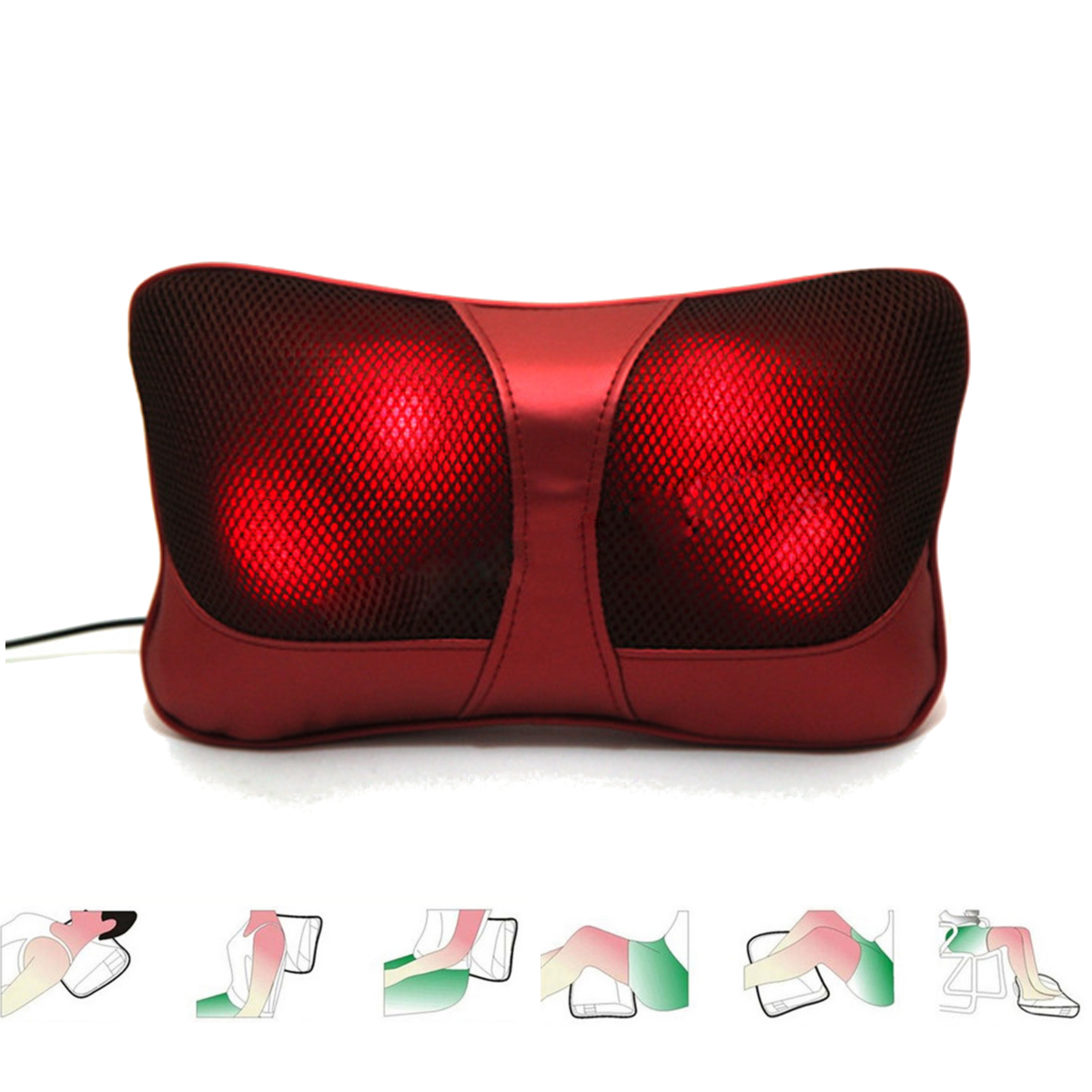 Electric Heating Massage Pillow Neck / Back / Shoulder Relax Cushion Car & Home