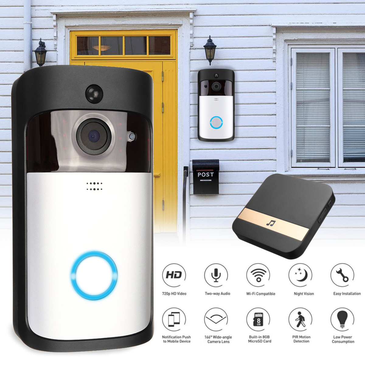 Wireless 1080P Video Doorbell Camera Battery Support PIR Detect Night Vision with DingDong