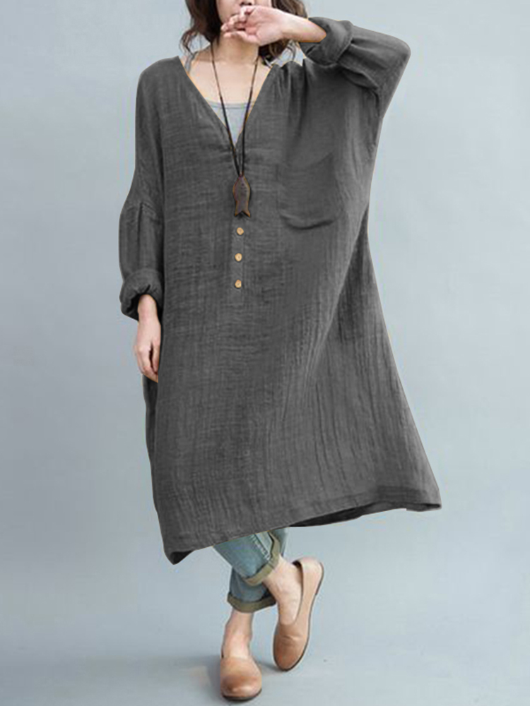S-5XL Vintage Women V-Neck Long Sleeve Button Dress