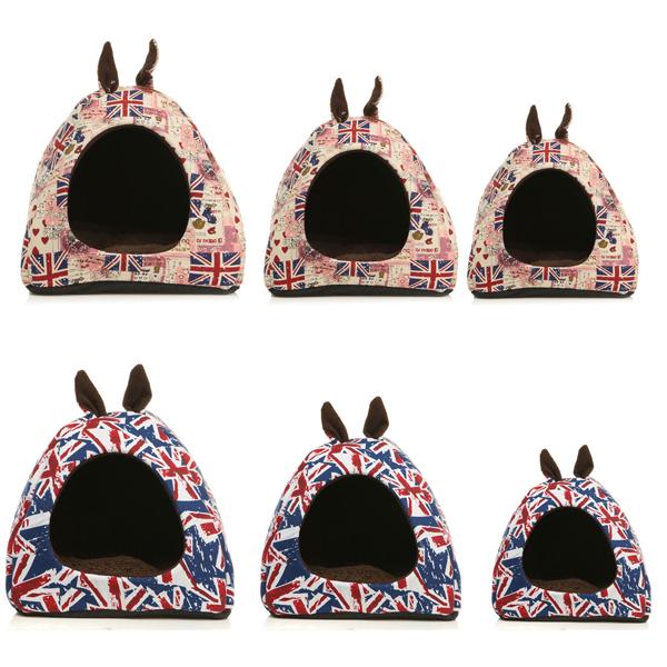 Warm Pet Dog House Cat Puppy UK Ear Flag Sleeping Cushion Bed House Hut Basket Kennel Pad