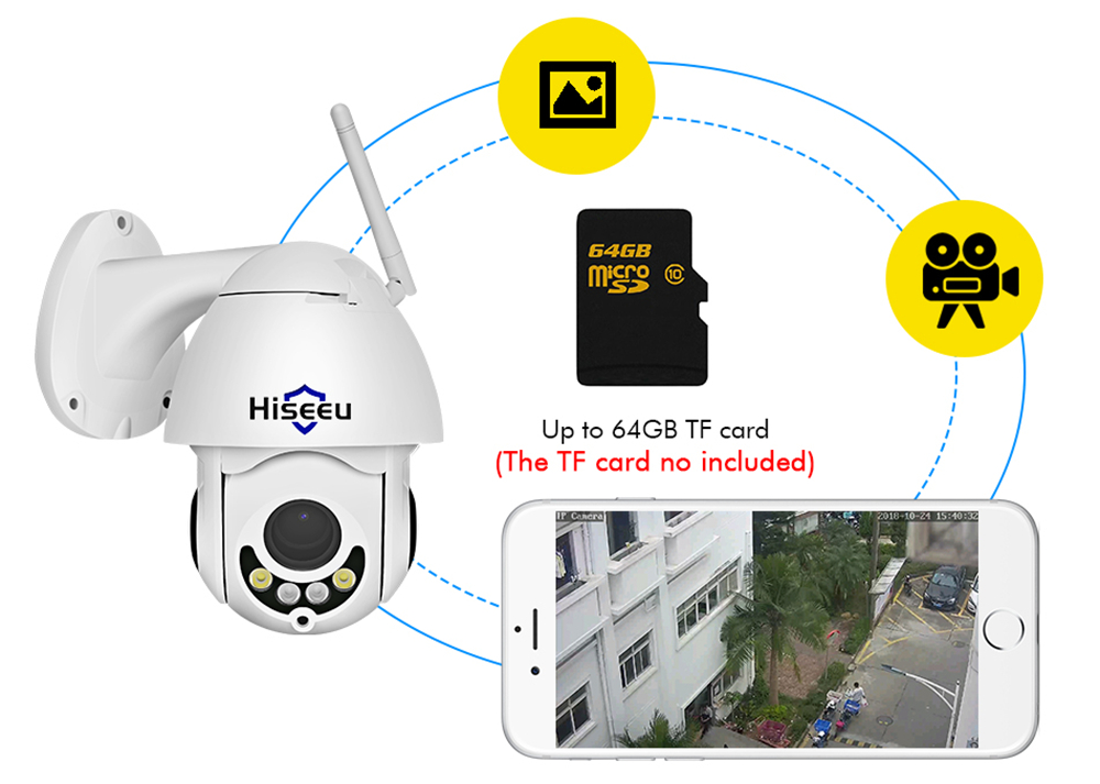 Hiseeu 1080P PTZ 5X Zoom Outdoor IP Camera with Audio Function 2MP Color Night Vision P2P CCTV Security Camera