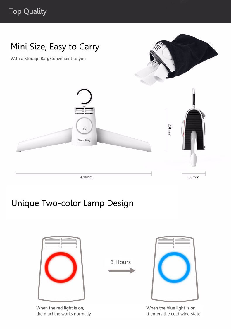 Loskii DC-X1 Portable Cloths Dryer Travel Mini Folding Electric Quickly Drying Machine Heater with Shoe Drying Tube